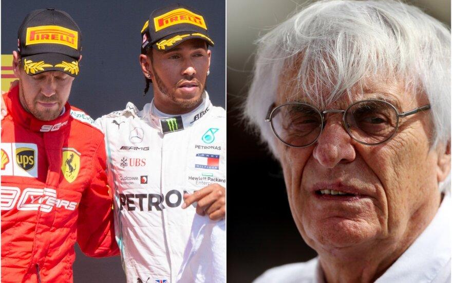 Sebastianas vettelis, Lewisas Hamiltonas, Bernie Ecclestone (PA / Scanpix)