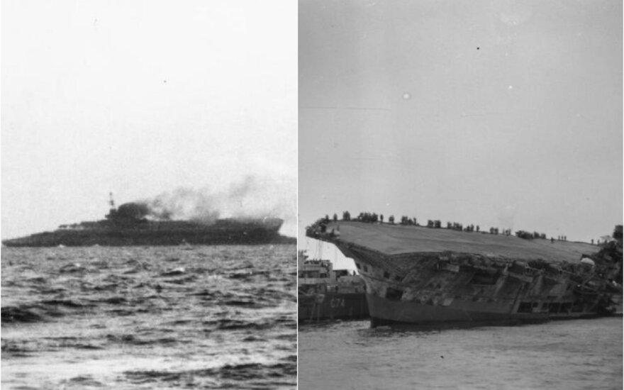 """Paskutinės """"HMS Courageous"""" gyvavimo akimirkos /  """"HMS Ark Royal"""" skęsta"""