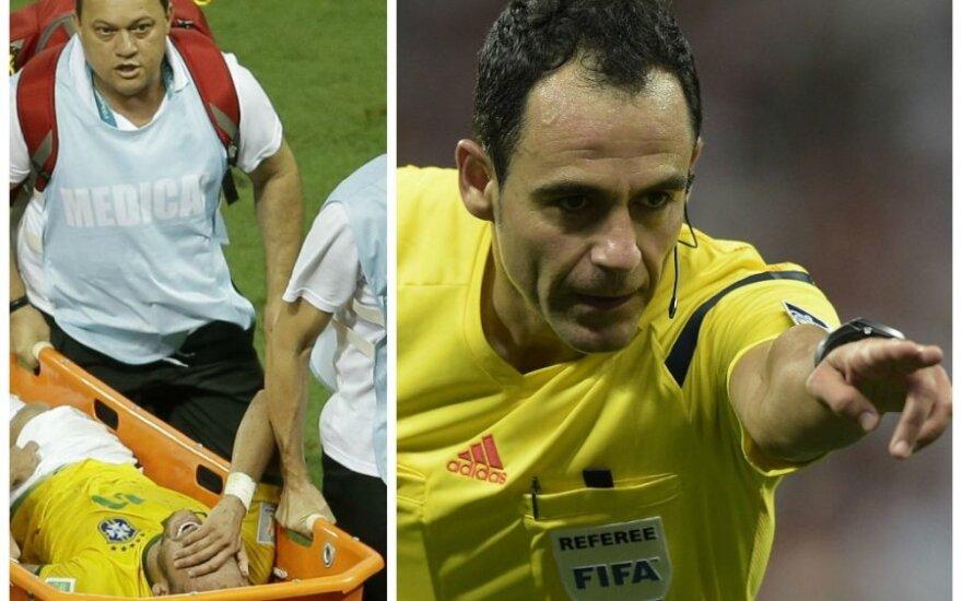 Aistros dėl Neymaro traumos ir Carloso Velasco teisėjavimo toliau nesibaigia (AP ir AFP nuotr.)