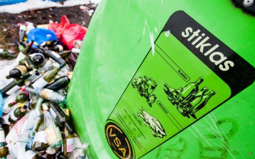 Stiklo konteineriuose netinkamų atliekų dalis tesudaro iki 10 proc.
