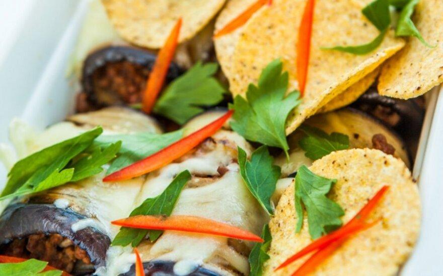 Maltos mėsos ir baklažanų apkepas