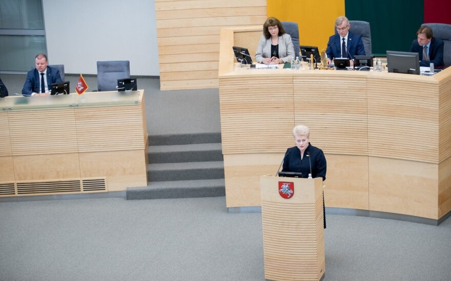 President Dalia Grybauskaitė making her annual State of the Nation Address