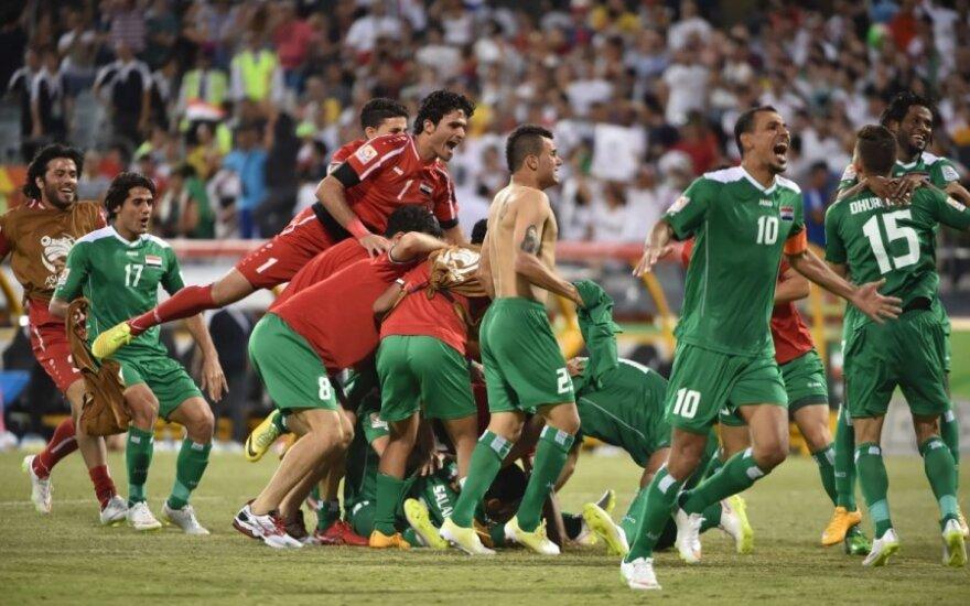 Irako futbolininkai džiaugiasi pergale
