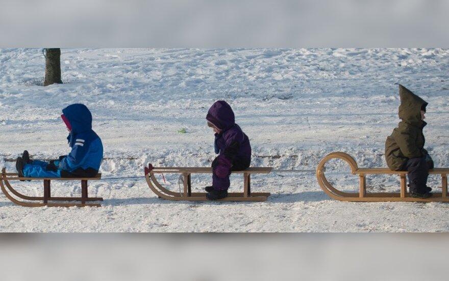 vaikas, vaikai, žiema, rogutės, sniegas, šaltis