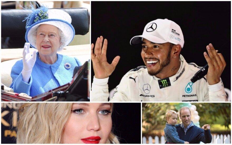 Elžbieta II, Lewisas Hamiltonas, Jennifer Lawrence, princas Williamas