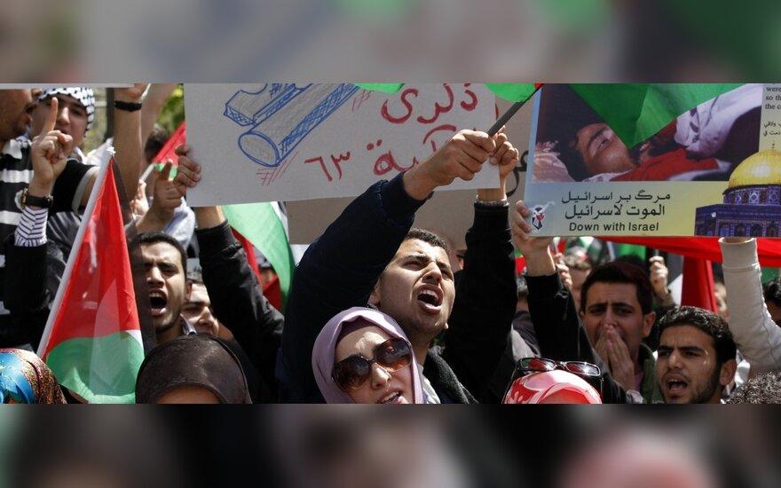 Palestiniečiai protestuoja paminėdami Izraelio įkūrimo dieną