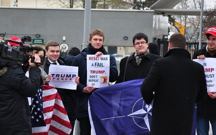 Donald Trump support rally in the front of the US Embassy in Vilnius