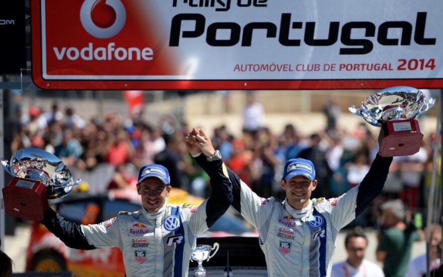 Sebastienas Ogier (dešinėje) laimėjo ir Portugalijos ralį