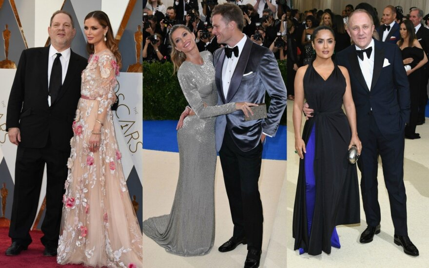 Harvey Weinsteinas ir Georgina Chapman, Tomas Brady ir Gisele Bundchen, Francois-Henri Pinault ir Salma Hayek