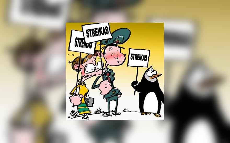 Streikas - karikatura
