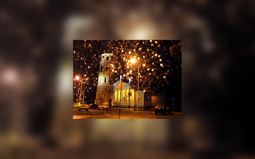 Vilnius, Katedros aikštė, Katedra, Vilniaus senamiesties, lietus
