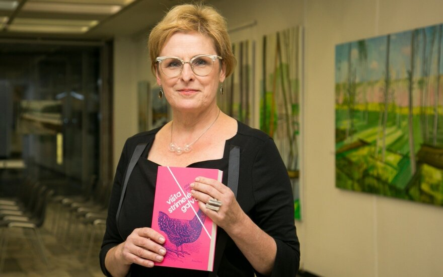Rūta Vanagaitė with her new book