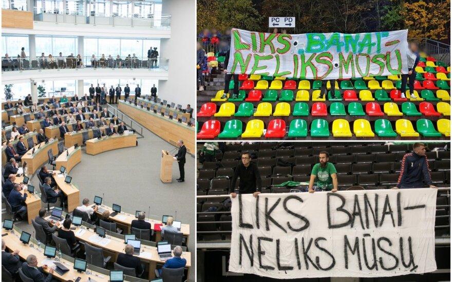 Seimas nesiryžo sugriežtinti bausmių futbolo ir krepšinio gerbėjams