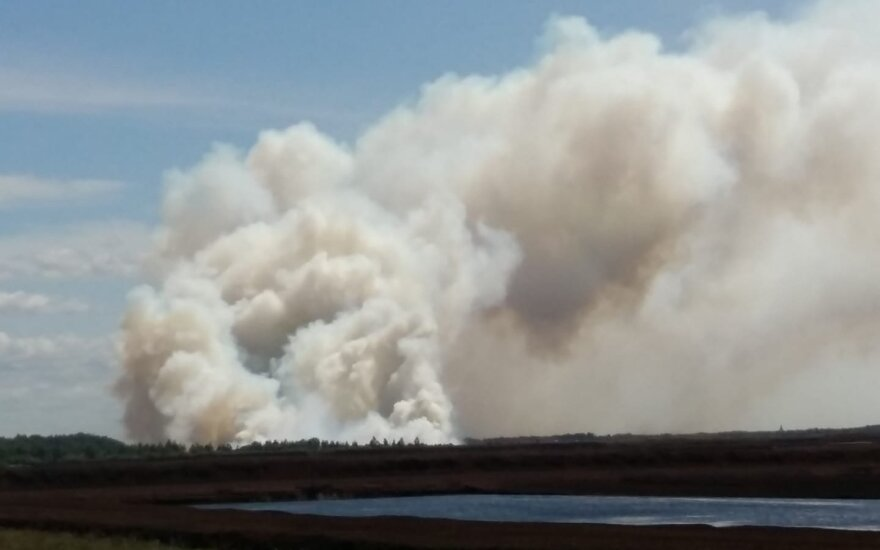 Firefighters battling huge peat fire in western Lithuania