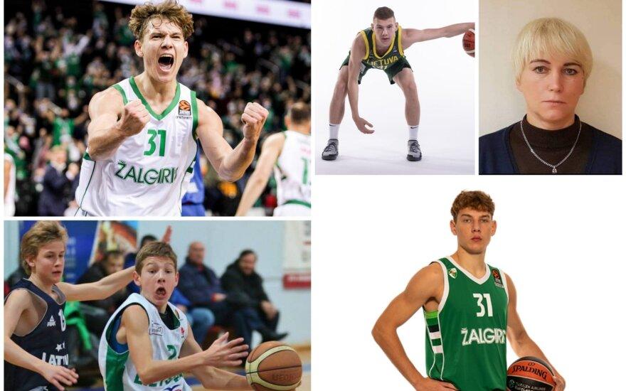 Rokas Jokubaitis ir pirmoji jo trenerė Renata Martinkienė (DELFI, MKL, Žalgirio ir FIBA nuotr.)
