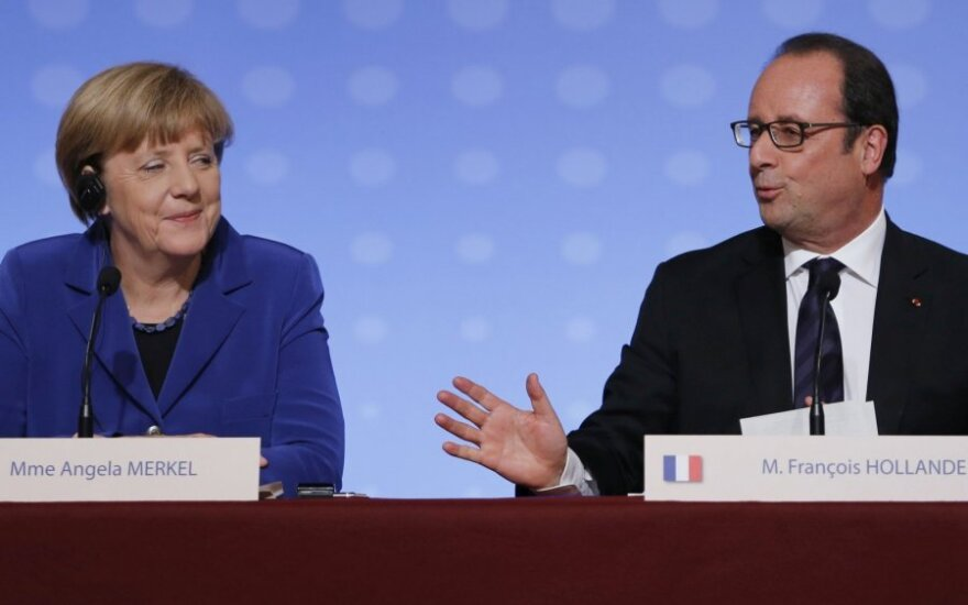 A. Merkel, F. Hollande'as