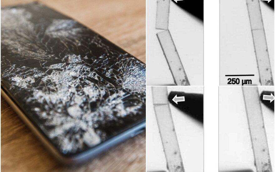 Sudužęs telefono stiklas sugis savaime.