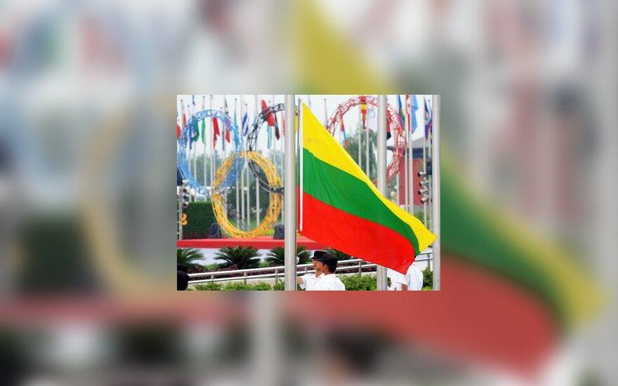 Lietuvos vėliava olimpiniame kaimelyje Pekine