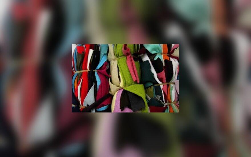 Medžiagų ryšuliai Kinijos tekstilės fabrike