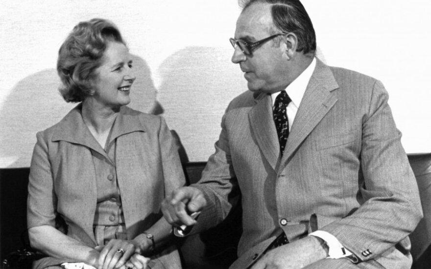 Buvusi britų premjerė  Margaret Thatcher ir buvęs Vakarų Vokietijos kancleris Helmutas Kohlis. 1975 m.