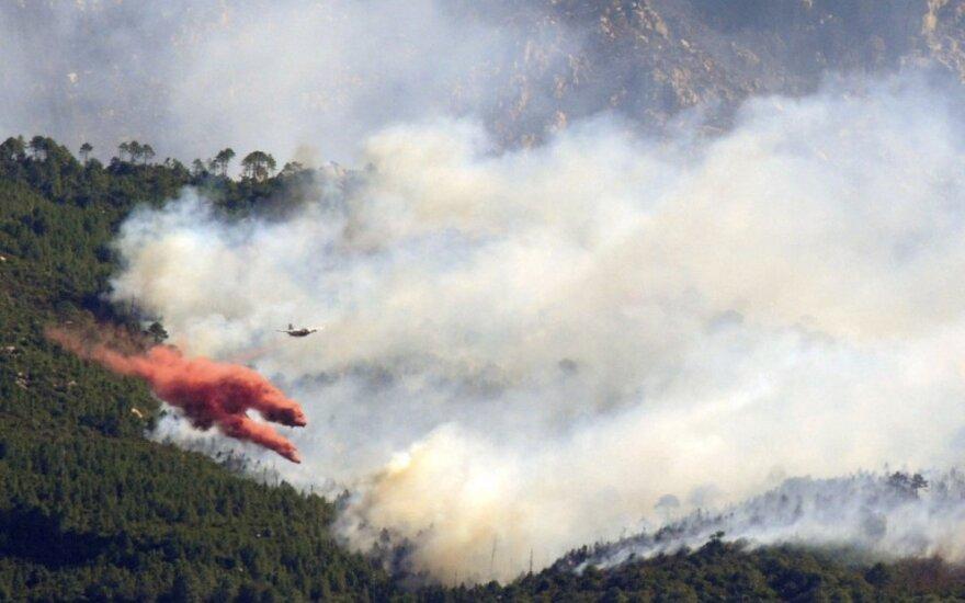 Italų lėktuvas gesina miško gaisrą