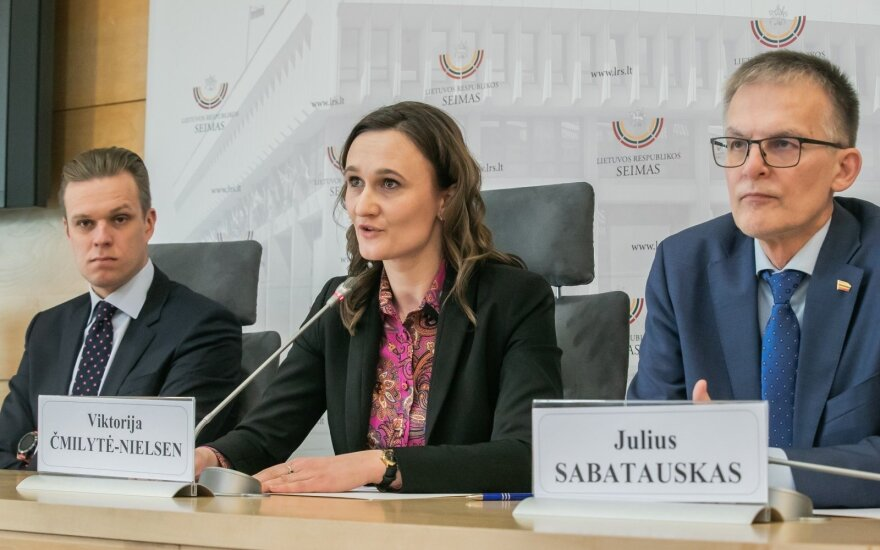 Gabrielius Landsbergis, Viktorija Čmilytė-Nielsen and Julius Sabatauskas