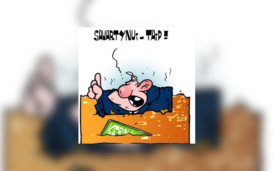 A.Brazauskas už sąvartyno statymą prie Kernavės - karikatūra