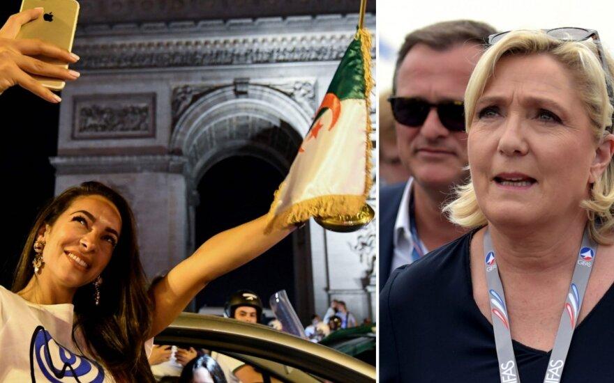Alžyro sirgalių šventė prie Triumfo arkos ir Marine Le Pen