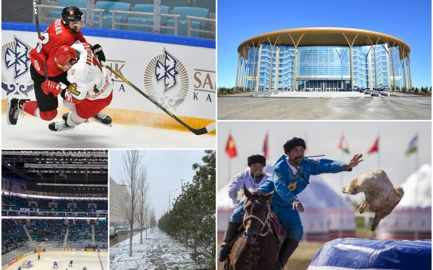 """Arnoldas Bosas, """"Barys"""" arena, sniegas Astanoje ir kazachų nacionalinis sportas kokparas"""
