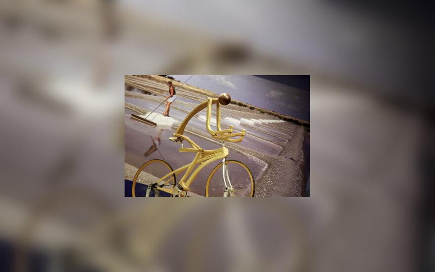Medinė dviračio skulptūra