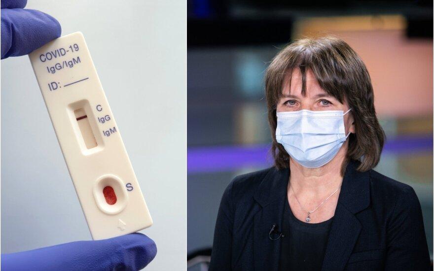 Aurelija Žvirblienė sako,kad vienas iš efektyviausių įrankių pandemijos valdymui yra greitieji antigenų testai.