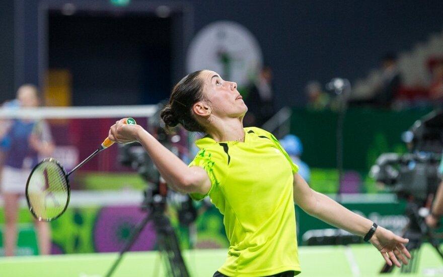 Badmintonininkė A. Stapušaitytė iškopė į turnyro Bulgarijoje pusfinalį