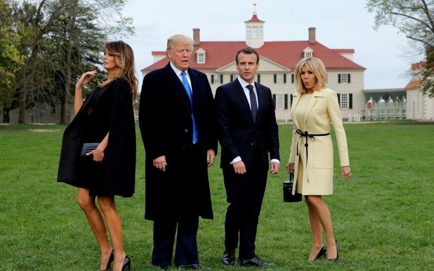 JAV – pompastiškas Prancūzijos prezidento Macrono vizitas