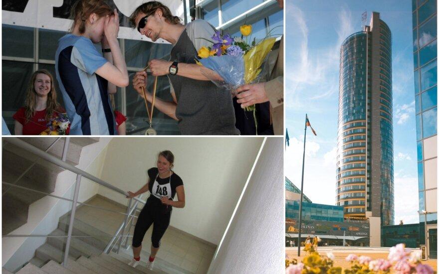 """Bėgimas į dangoraižį """"Europa"""" / FOTO: """"Hanner"""" archyvas"""