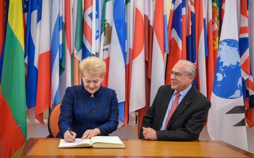 Dalia Grybauskaitė meeting with OECD Secretary General Angel Gurria