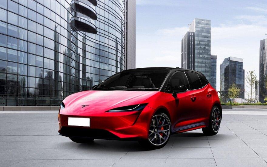 """Parodė, kaip galėtų atrodyti būsimas 25 000 JAV dolerių kainuosiantis """"Tesla"""" elektromobilis"""