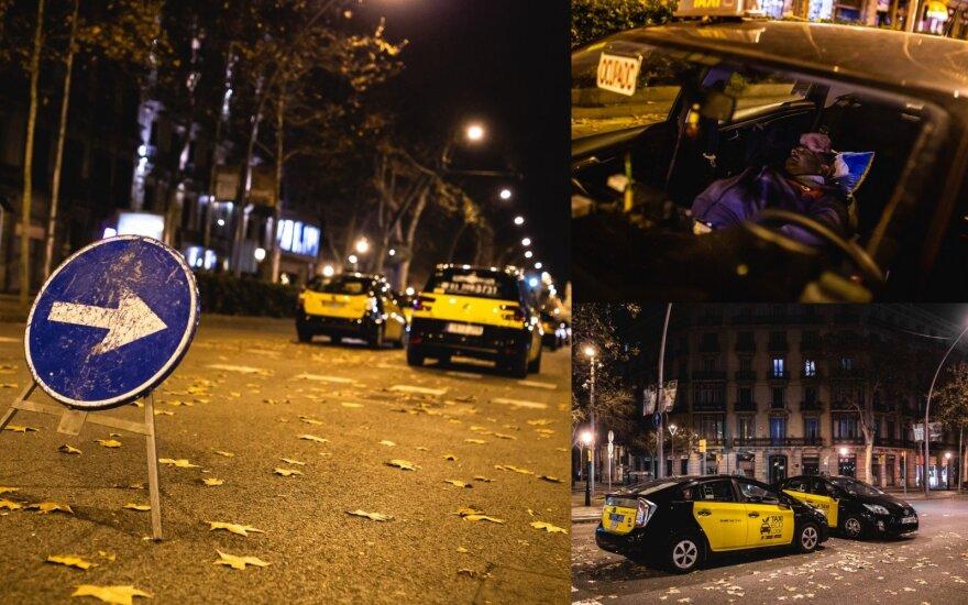 Taksi vairuotojų streikas Barselonoje