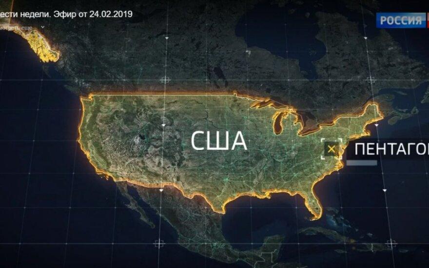 Rusijos valstybinė televizija parodė žemėlapį, kur smogtų branduolinės raketos: taikinių sąraše – Pentagonas ir Baltieji Rūmai