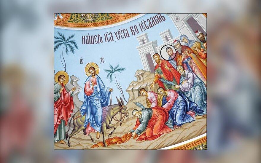 Kazachstano pareigūnas įamžintas freskoje prie Kristaus, time.kz nuotr.