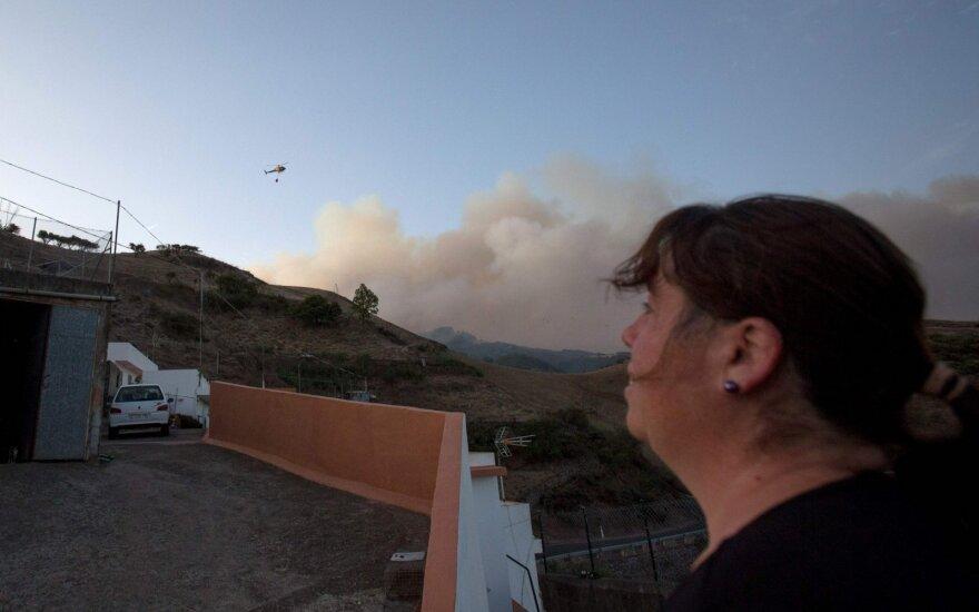 Kanarų salose kilus naujam miškų gaisrui, evakuojami žmonės