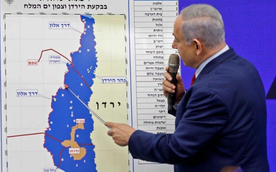 Benjaminas Netanyahu žada aneksuoti dalis Vakarų Kranto