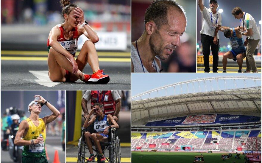 Pasaulio lengvosios atletikos čempionatas Dohoje - maratono ir sportinio ėjimo akimirkos, Chalifos stadionas / FOTO: Scanpix, DELFI, Alfredas Pliadis