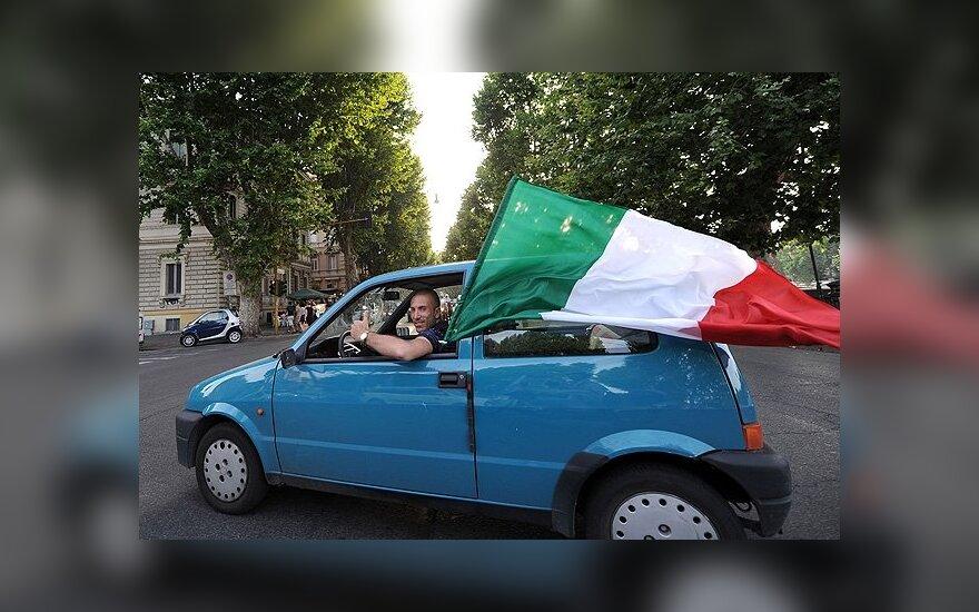 Italijos rnktinės sirgalius Romoje