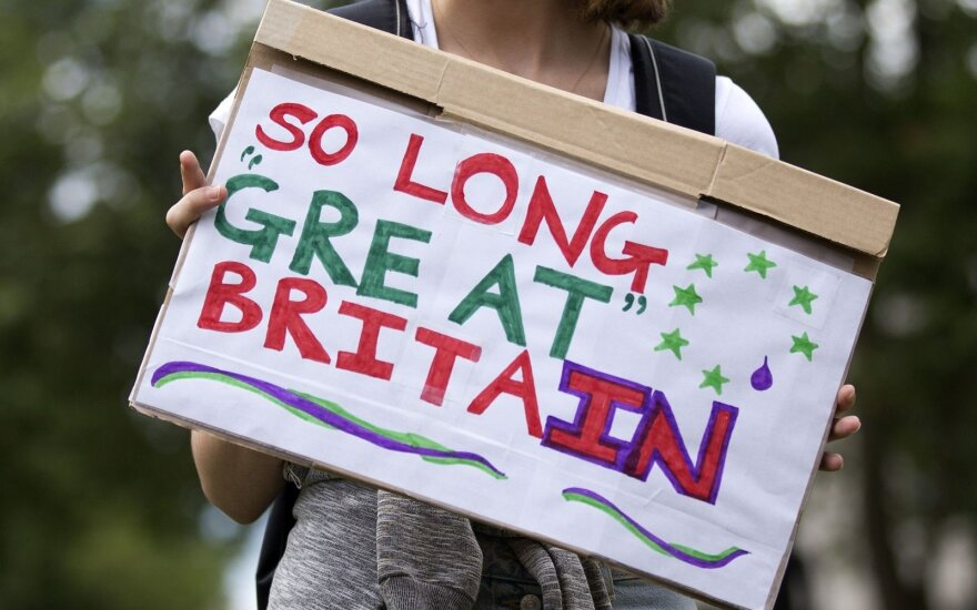 Brexit: A protester in London spells out one of the possible implications of the vote