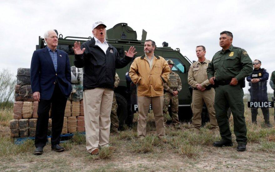 Donaldas Trumpas prie sienos su Meksika