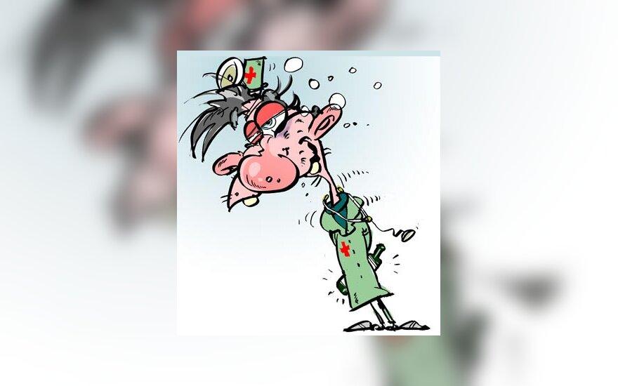 Kalėjimų ligoninės direktorius darbo vietoje užkluptas neblaivus - karikatūra