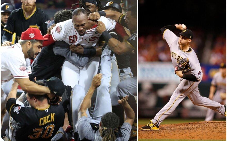 """Muštynės tarp """"Pirates"""" ir """"Reds"""" žaidėjų, Dovydas Neverauskas (dešinėje)"""