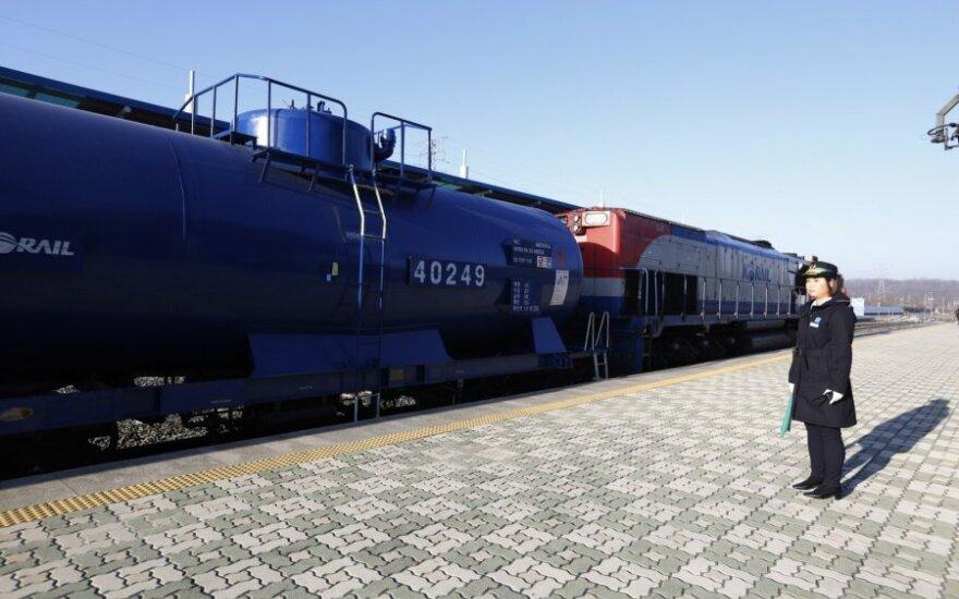 Pietų Korėjos traukinys pasiekė sieną