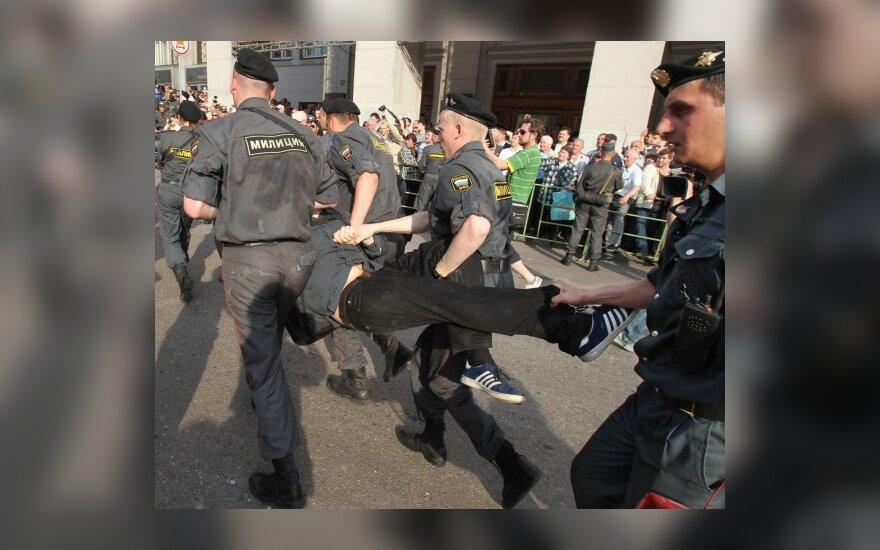 Maskvos Triumfo aikštėje sulaikyti 135 nesankcionuotos akcijos dalyviai