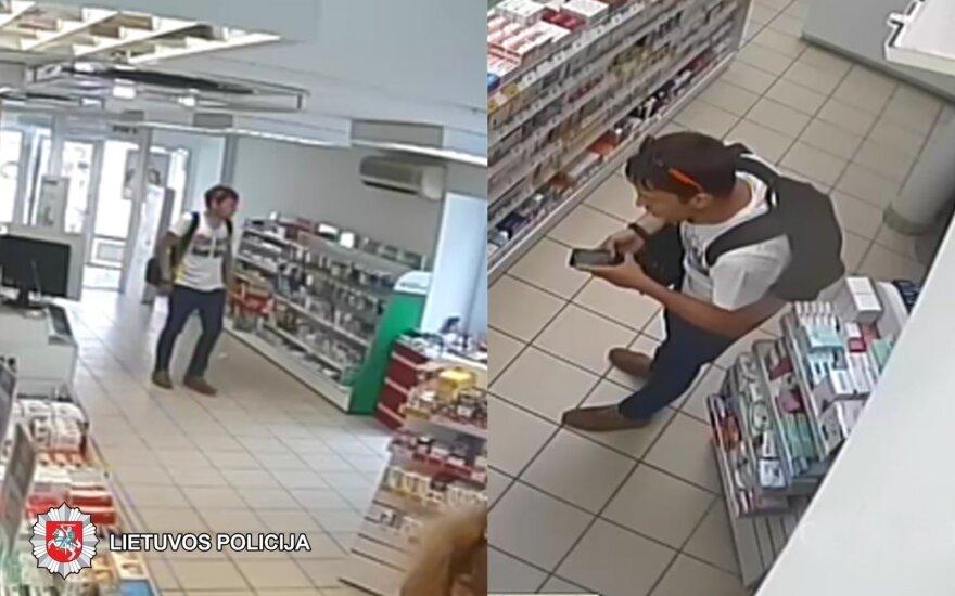 Panevėžio pareigūnai ieško kamerų užfiksuoto vyro: už prekes reikia sumokėti